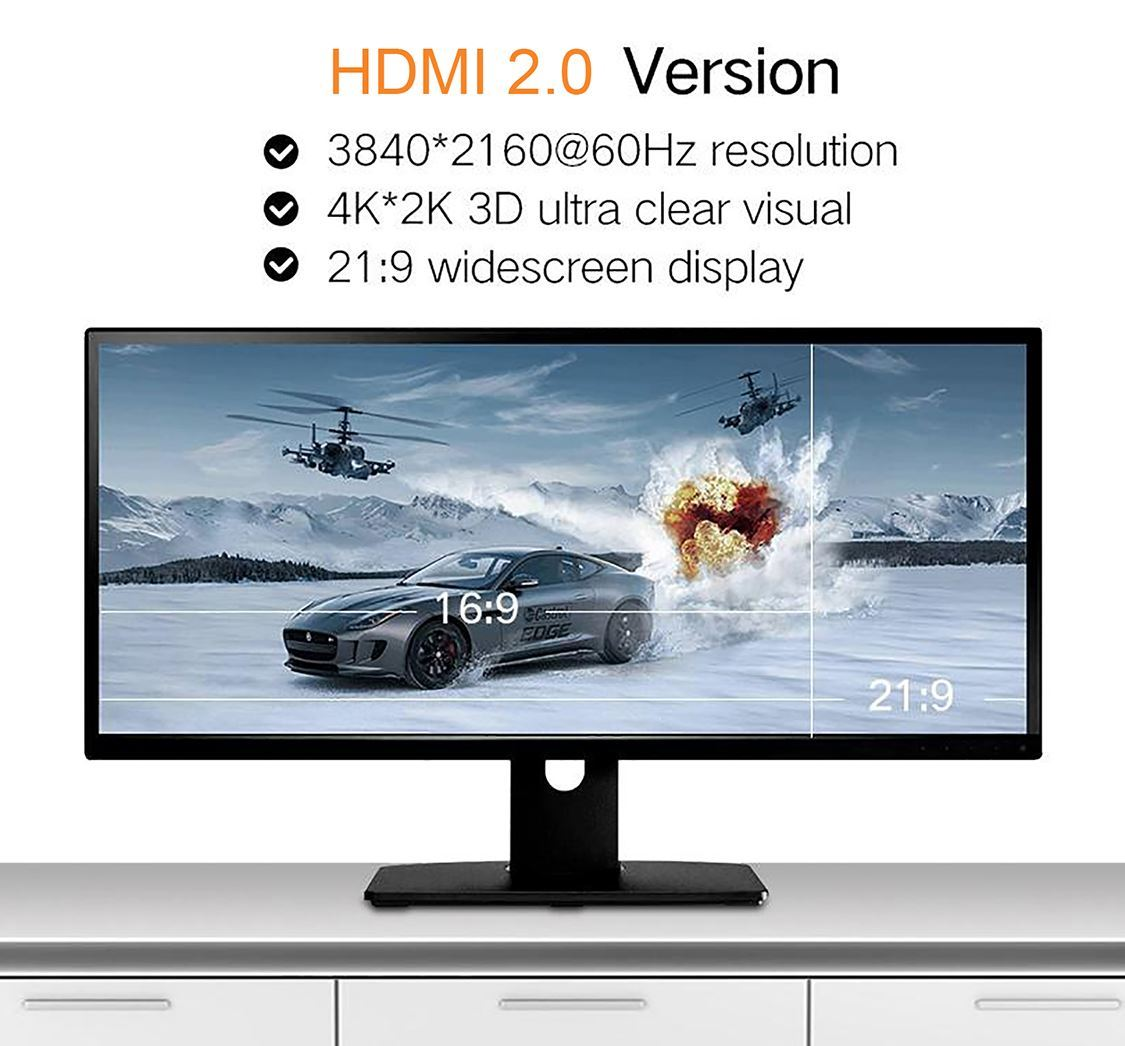 Cáp HDMI 2.0 Carbon 1m chuẩn 4K@60MHz Ugreen 50106