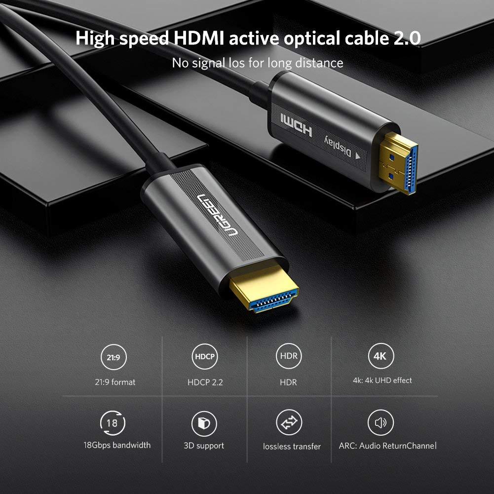 Cáp HDMI dài 60m sợi quang hỗ trợ 4K@60Hz Ugreen 50220
