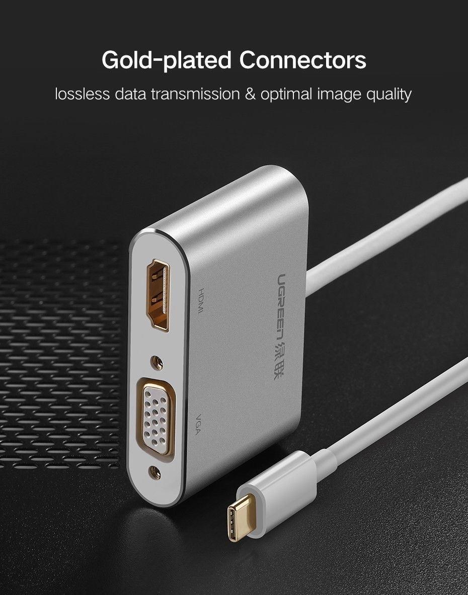 Cáp chuyển USB Type C to HDMI và VGA Ugreen 50317