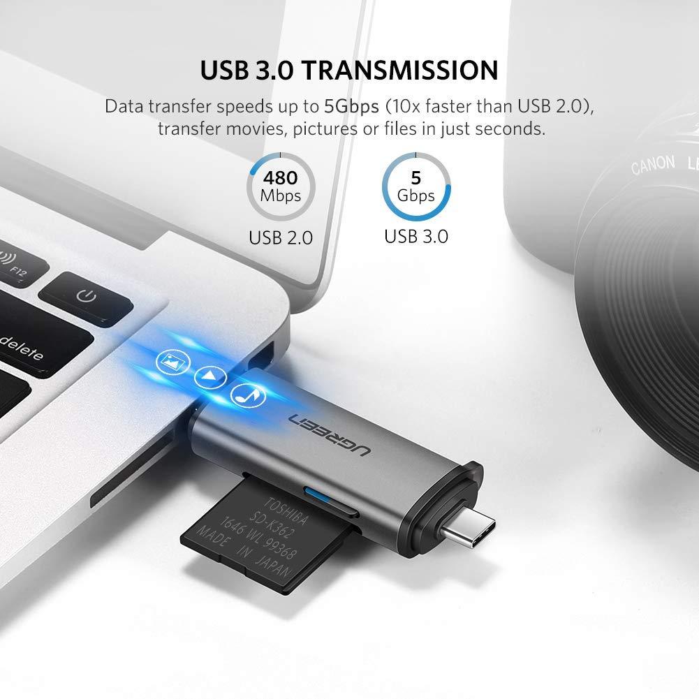 Đầu đọc thẻ USB 3.0 + Type C cho thẻ SD/TF Ugreen 50706