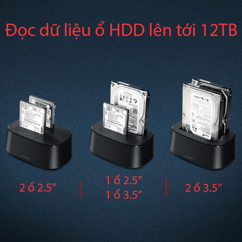 Hộp đựng ổ cứng 2.5/3.5inch Sata/ USB 3.0 hỗ trợ 12TB Ugreen 50742