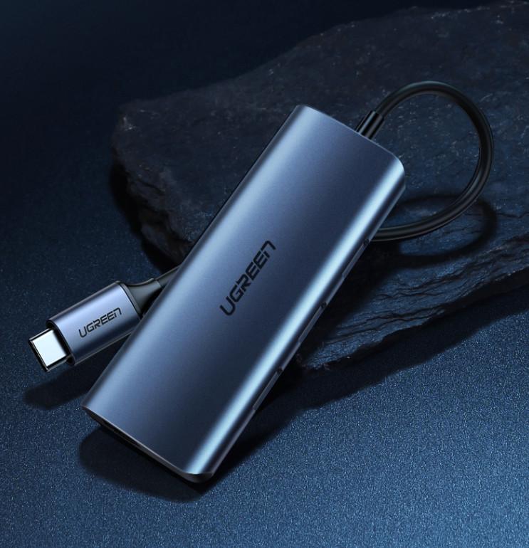 Bộ chia Type C 4 cổng USB 3.0 + Lan RJ45 Ugreen 60717
