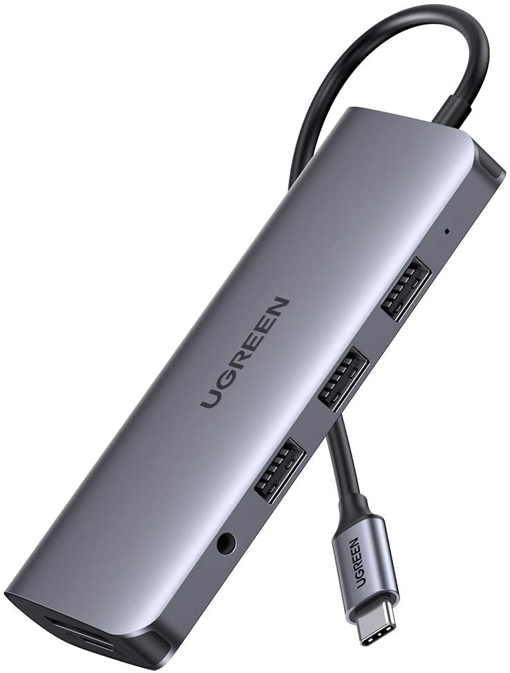 Bộ chuyển USB Type C to HDMI + VGA + USB 3.0 + LAN 1Gbps + Card Reader + 3.5mm Ugreen 80133