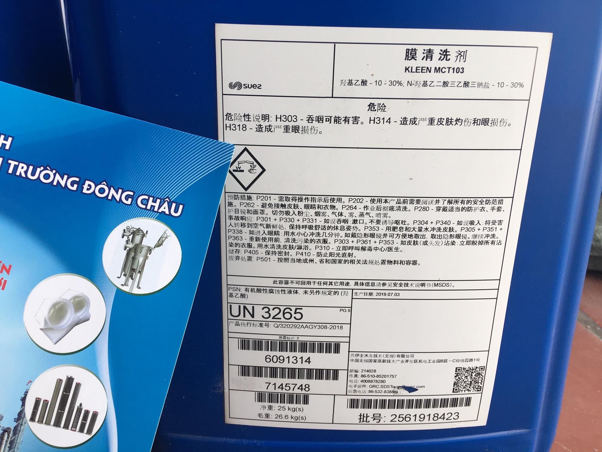 MCT103 dung dịch rửa màng RO tẩy cáu cặn vô cơ