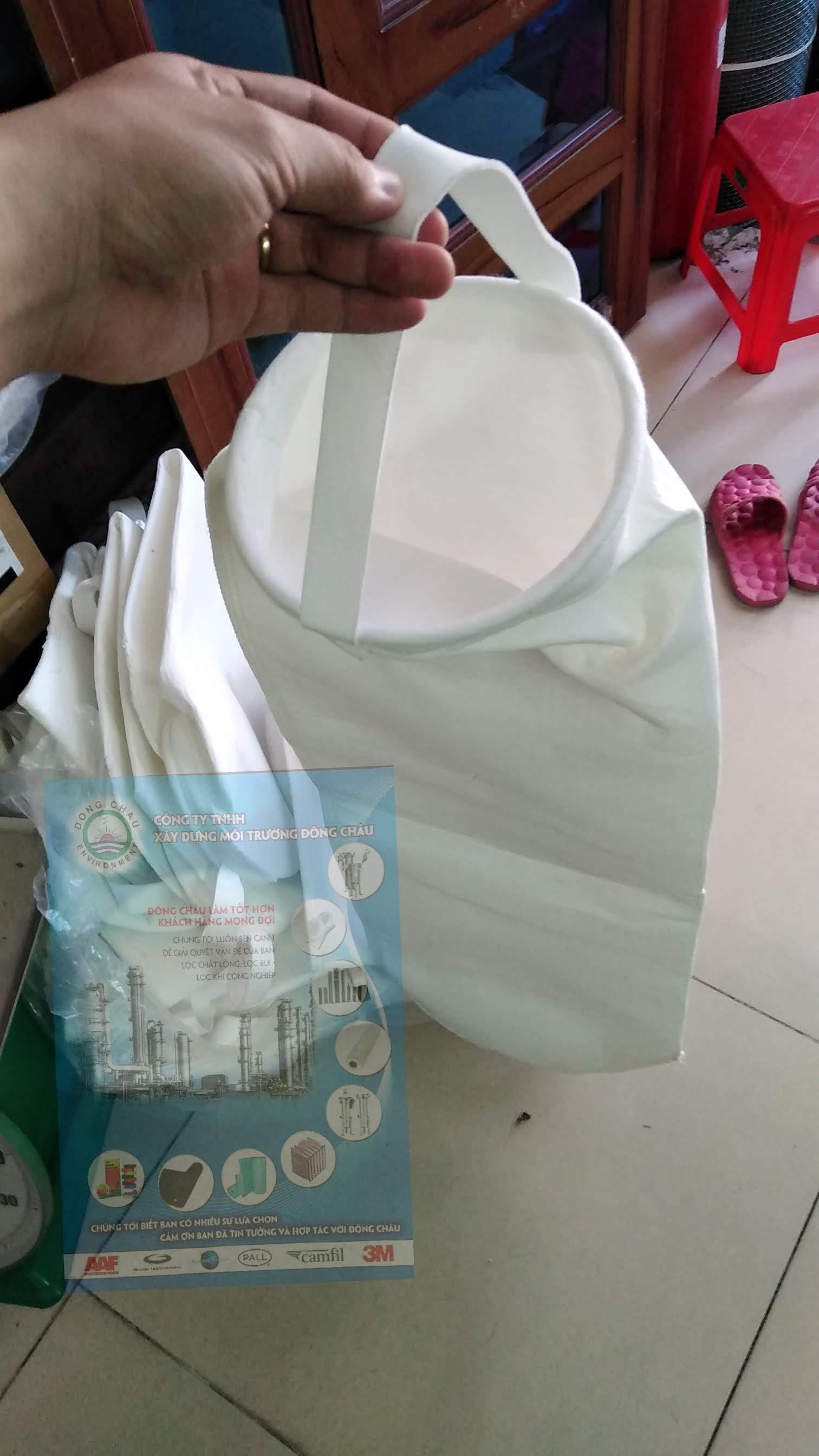 Túi lọc Polyester vòng inox may theo yêu cầu
