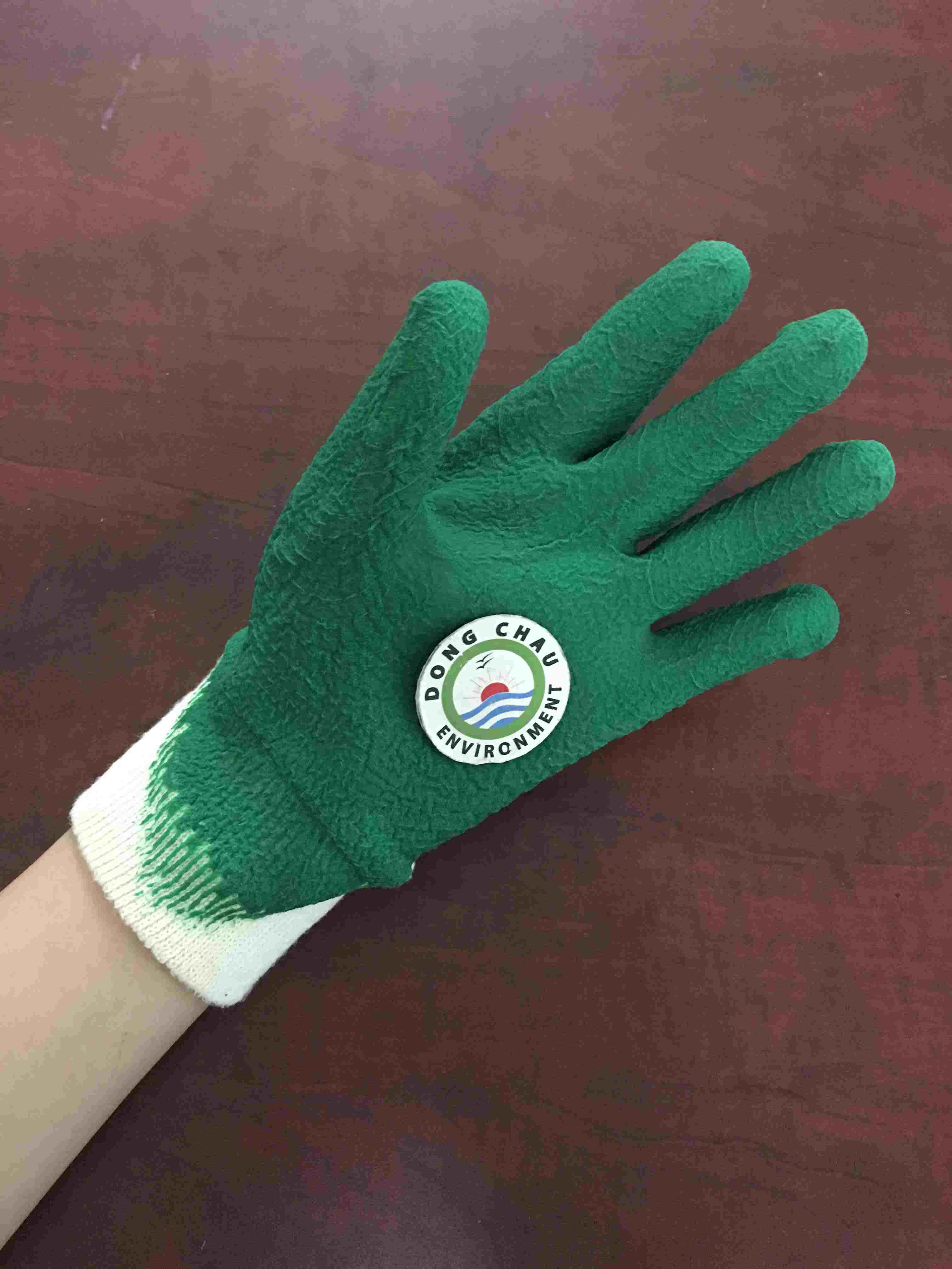 Găng tay vải cotton bo cổ tay phủ sơn