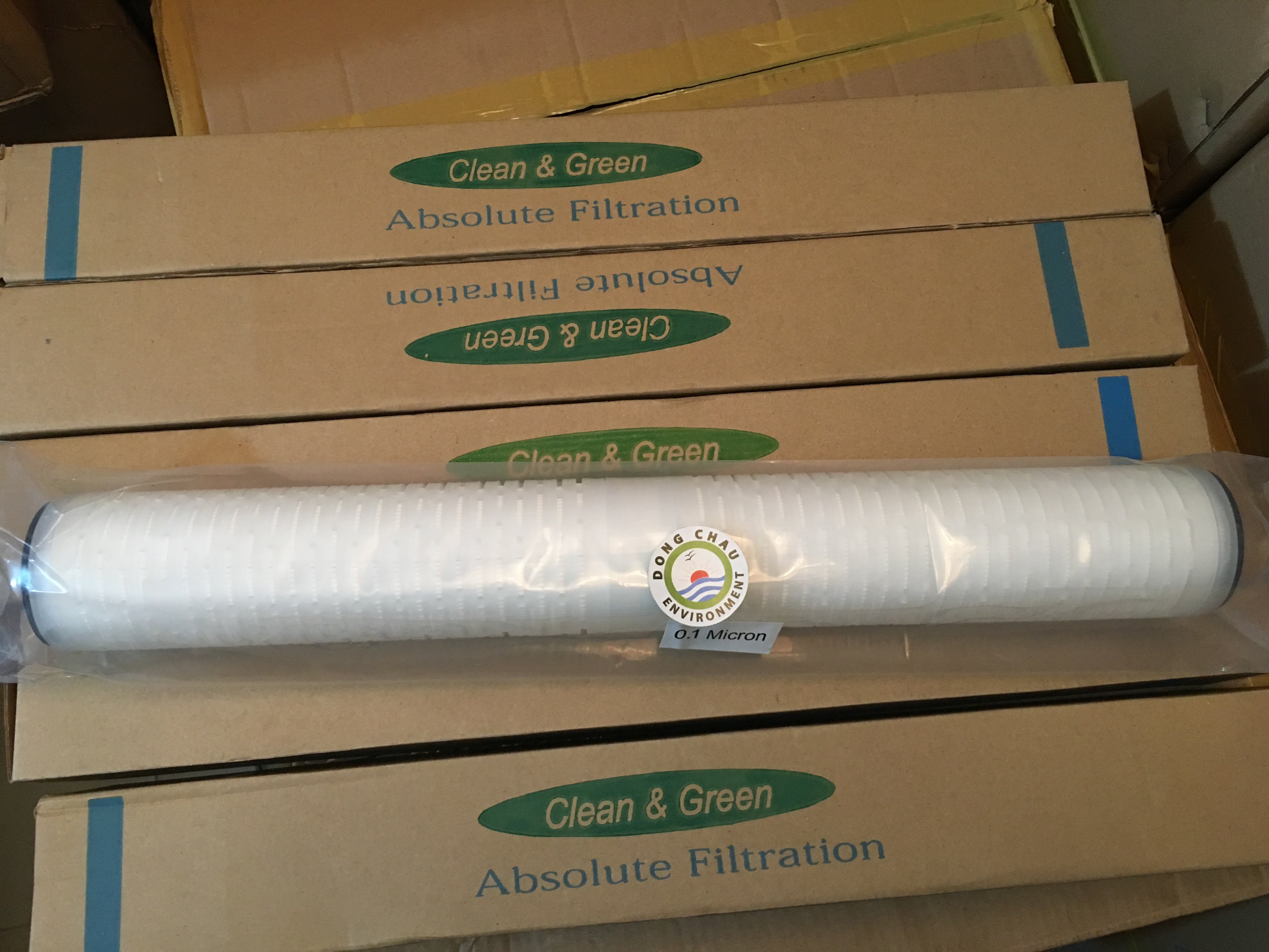 Lõi lọc giấy xếp 0.1 micron 20 inch DOE Clean Green