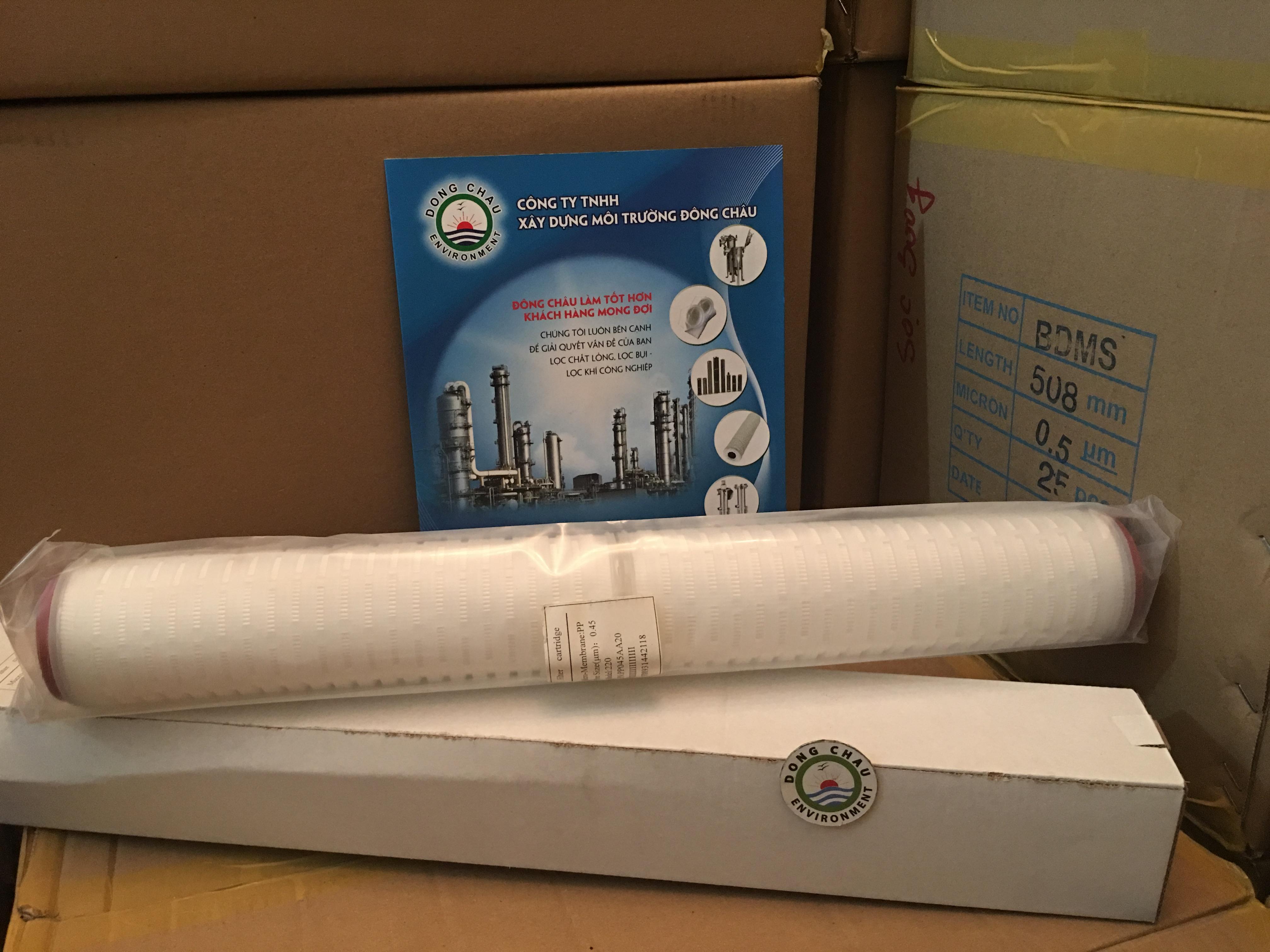 Lõi lọc giấy xếp 0.45 micron 20 inch oring 220 Trung Quốc