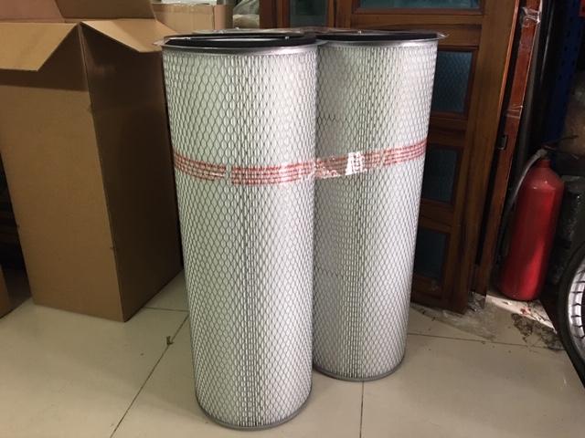 Lõi lọc khí PE, phin lọc bụi giấy nhựa 2 mặt lưới, có vành, ti chịu lực