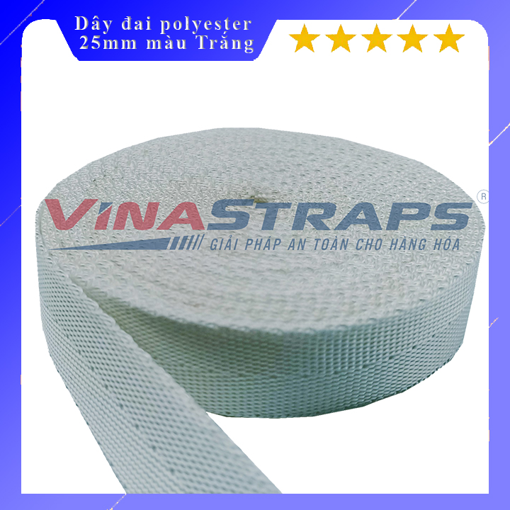 Dây đai polyester bản 25mm màu trắng