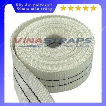 Dây đai polyester bản 50mm màu trắng sọc đen