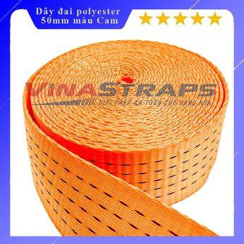 Dây đai dệt Polyester bản 50mm màu cam 5 tấn