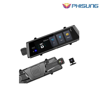 Camera Phisung V6 màn hình cảm ứng 10'' Android 5.0 GPS Navigators FHD 1080 P gương ghi video dvr + WIFI 3G