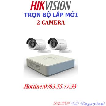 Lắp đặt trọn bộ 2 camera quan sát Hikvision 2.0mp