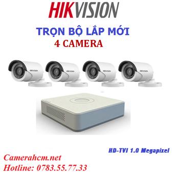 Lắp đặt trọn bộ 4 camera quan sát Hikvision 2.0mp
