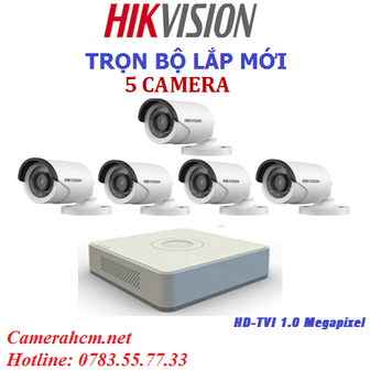 Lắp đặt trọn bộ 5 camera quan sát Hikvision 2.0mp