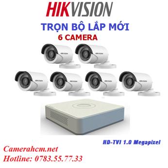 Lắp đặt trọn bộ 6 camera quan sát Hikvision 2.0mp