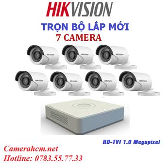 Lắp đặt trọn bộ 7 camera quan sát Hikvision 2.0mp