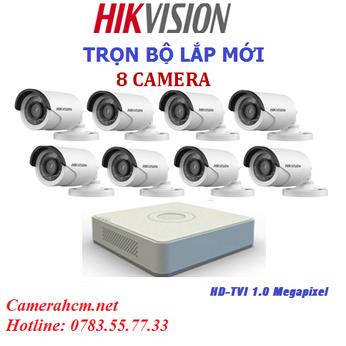 Lắp đặt trọn bộ 8 camera quan sát Hikvision 2.0mp