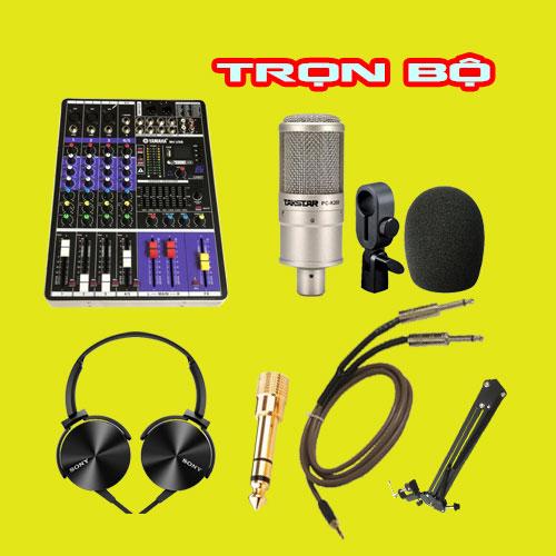Hát karaoke Mixer yamaha m4 mic thu âm pc k200 trọn bộ