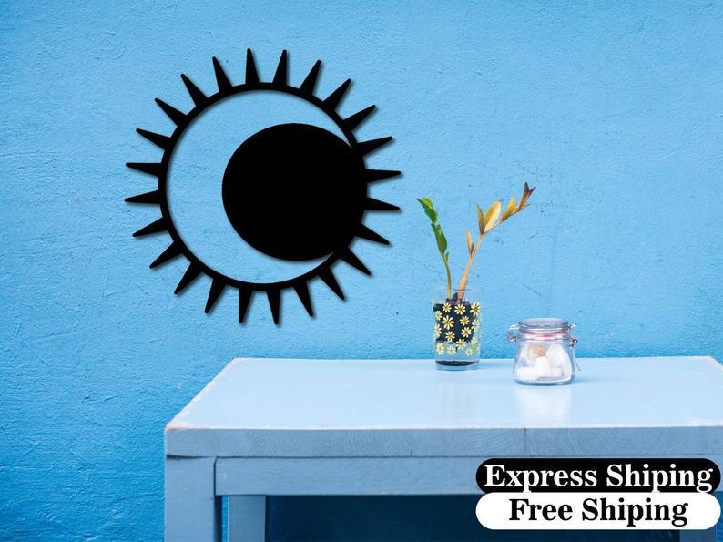 Sắt mỹ thuật Laser CNC trang trí ốp tường Moon and Sun