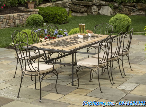 40 wrought iron furniture outdoor italian style part 4 for Wrought iron dining set outdoor