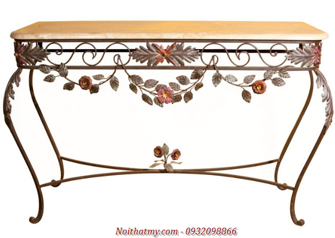 Tables wrought iron wall shelves painted beautiful antique European
