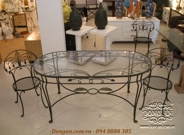 Dining room tables and chairs wrought iron 2014 latest DA14-BG01
