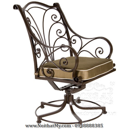 Ghế xoay bằng sắt mỹ thuật có tay vịn và nệm