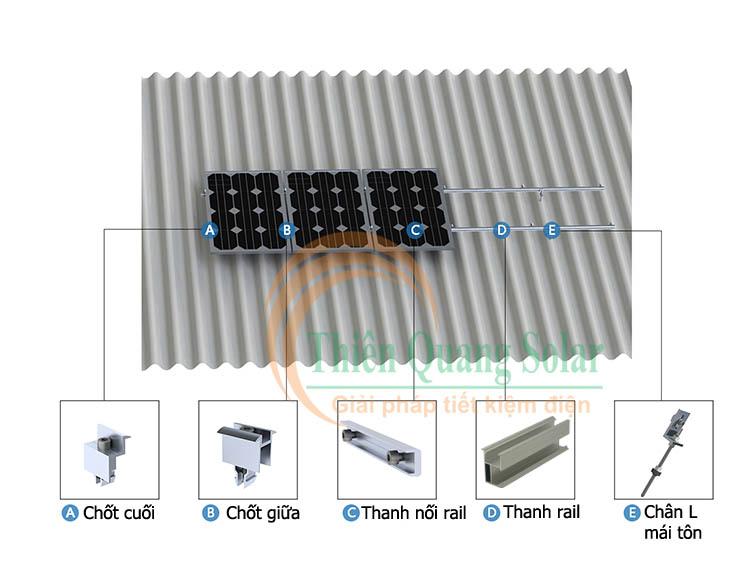 Khung giá đỡ tấm pin năng lượng mặt trời mái tôn