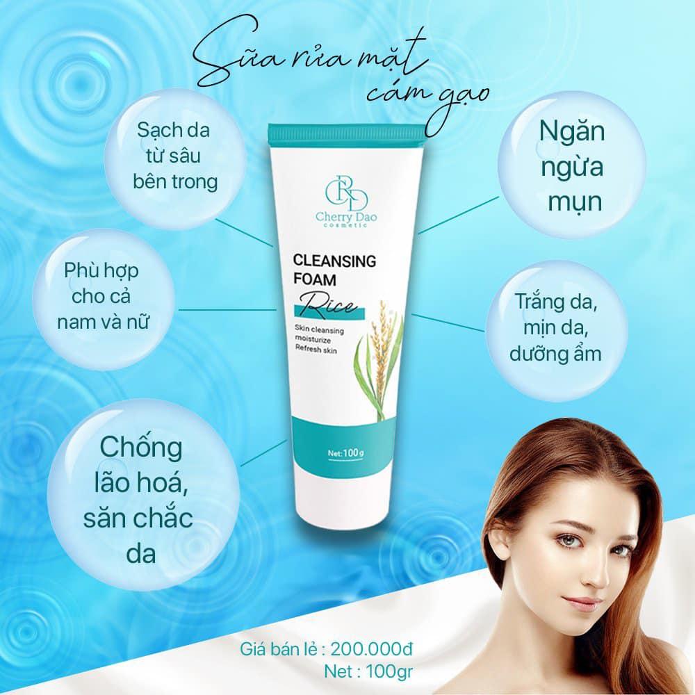 Sữa Rửa Mặt Cám Gạo CRD Cherry Đào Chính Hãng✅Myphamcrd.com