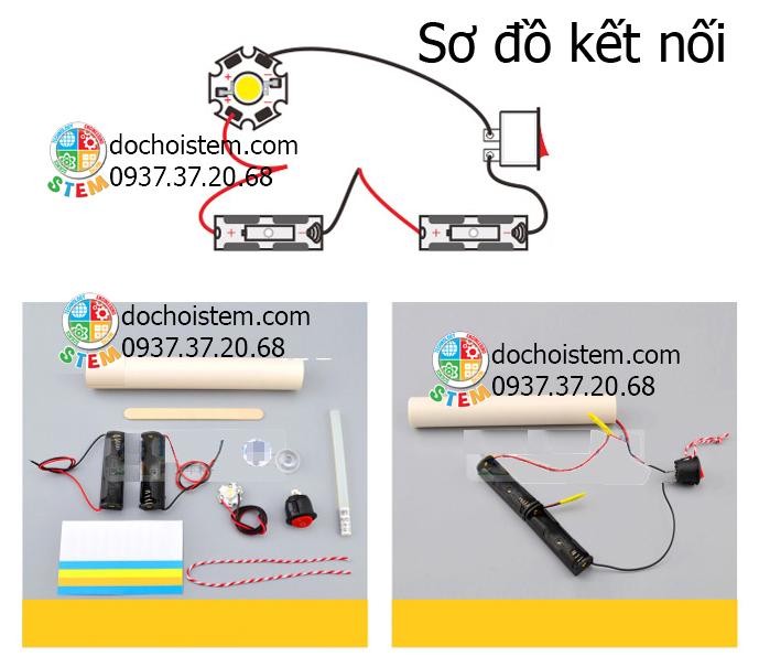 Đèn pin LED - đồ chơi STEM - đồ chơi mô hình - đồ chơi lắp ráp