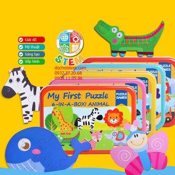 Bộ xếp hình 6 trong 1 - đồ chơi montessori giúp trẻ thông minh