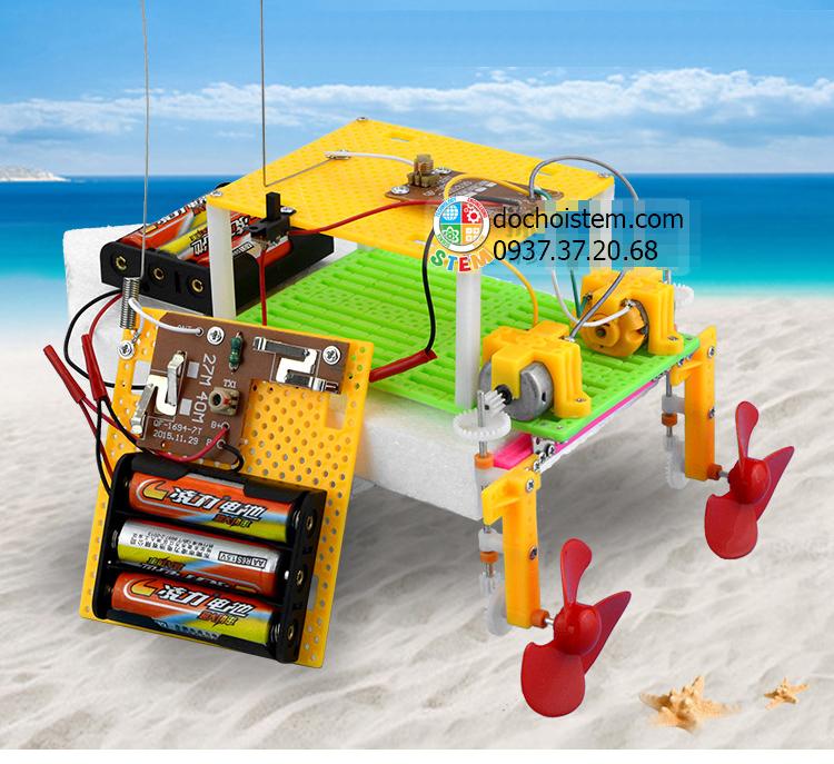 Thuyền điều khiển - đồ chơi STEM - đồ chơi mô hình - đồ chơi lắp ráp