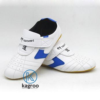Giày Taekwondo  Trắng Sọc V Xanh Dương / Đỏ