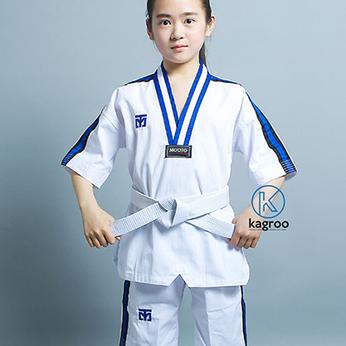Võ Phục Tay Ngắn Taekwondo - Hiệu Mooto - Vải Sọc Ttăm