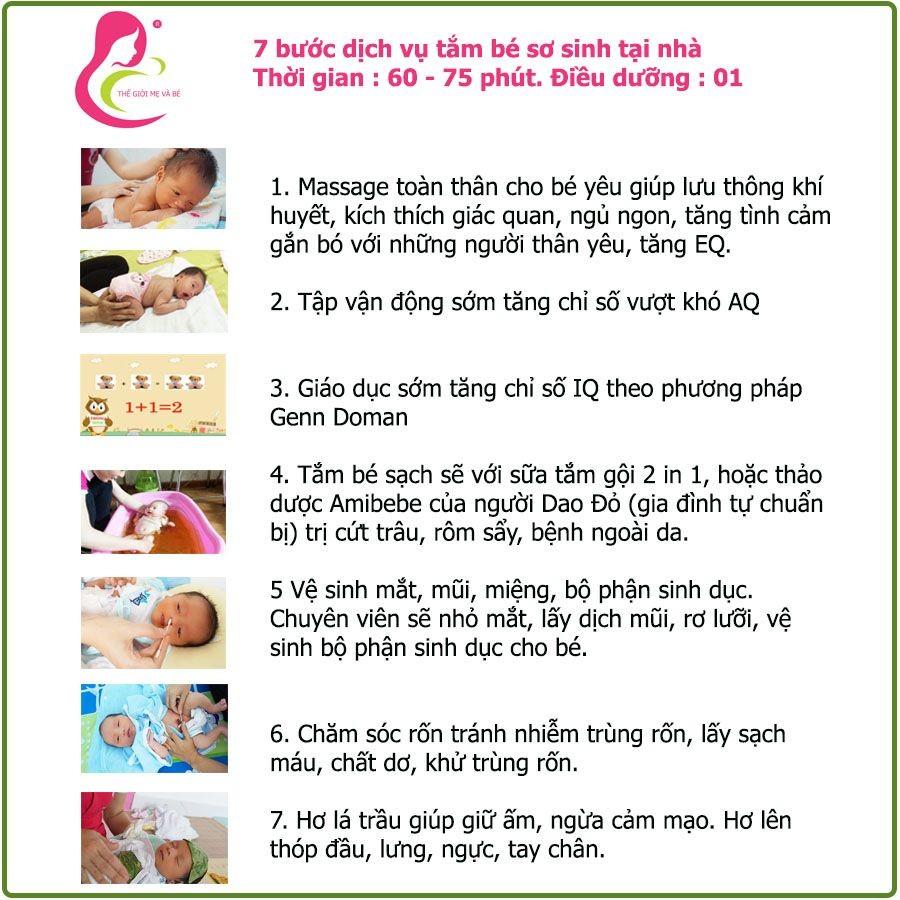 7 bước quy trình dịch vụ tắm bé sơ sinh tại nhà