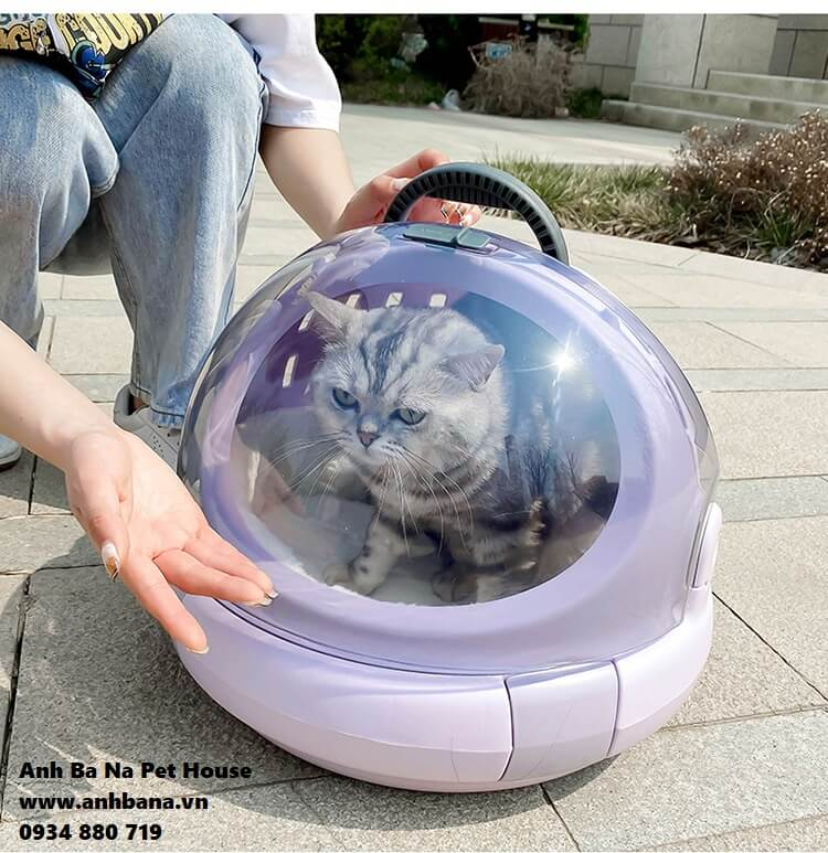 Lồng mèo di động trong suốt hình tròn