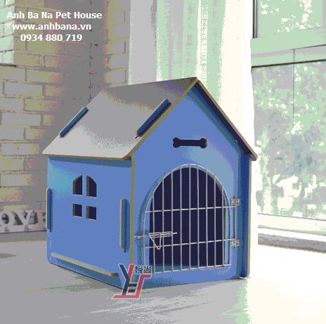 Nhà gỗ cho chó lắp ráp, cửa sắt 02