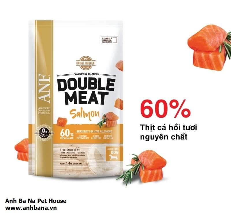 Thức ăn hạt khô cho chó vị cá hồi ANF Double Meat
