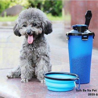 Bình nước cho chó mèo loại 2 ngăn (Combo bình + tô)