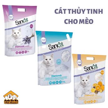 Cát vệ sinh cho mèo thủy tinh Sanicat Silica Gel
