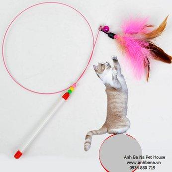 Đồ chơi cần câu mèo lông vũ có chuông