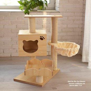 Nhà cây cho mèo bằng gỗ cao cấp Cat Tree 02