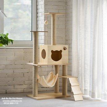 Nhà cây cho mèo bằng gỗ cao cấp Cat Tree 01