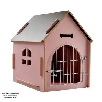 Nhà gỗ cho chó lắp ráp, cửa sắt 01