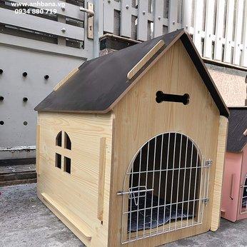 Nhà gỗ cho chó lắp ráp, cửa sắt 03