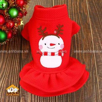 Váy cho chó mèo màu đỏ hình người tuyết