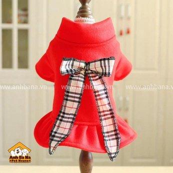 Áo đầm thú cưng màu đỏ nơ caro