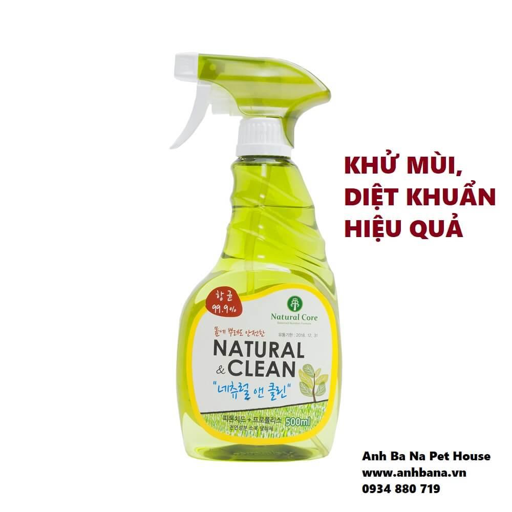 Xịt khử mùi diệt khuẩn chó mèo Natural Clean